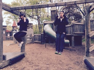 Some of Annie's team working on pull ups in High Park