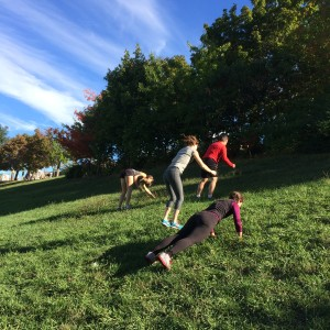 The Annex Not So Early Risers doing burpees up the hill. It was a popular workout with everyone.
